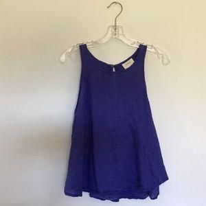 Anthropologie Purple Maeve Linen Top Keyhole Back